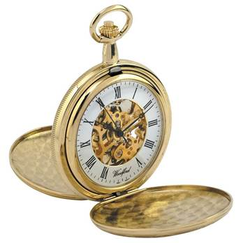 Woodford Skeleton Full-Hunter Pocket Watch, 1063, Men's Gold-Plated Twin-Lidded with Chain