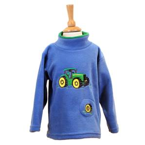 Kids Green Tractor Crew Neck Fleece with Sound Effect