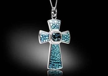 Cross necklace blue enamel Sterling Silver