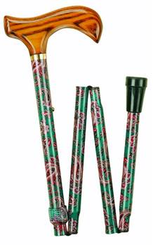 Deluxde Wood Handle Folding Walking Stick with Patterned Shafts - Paisley - 99P