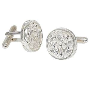 Round Thistle cufflinks in stering silver with a swivel fitting