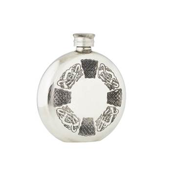 Pewter Hip Flask - 6oz Round  with Celtic Design - by Sgian Dubhs