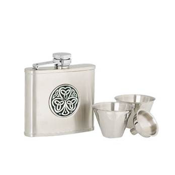 Stainless Steel 4oz Hip Flask with Shamrock Pattern in presentation box with Cups and Funnel