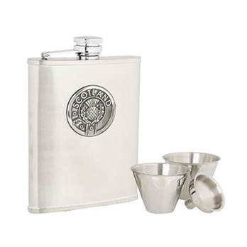 Stainless Steel 6oz Hip Flask with Scotland Pattern in presentation box with Cups and Funnel