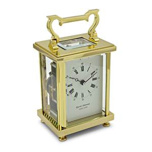 Flat Brass Carriage Clock with Bell Strike Movement - DP/FB/SK