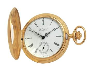 Woodford Gold Plated Half Hunter Swiss 17 Jewel Pocket Watch