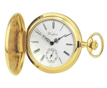 Woodford Gold Plated Full Hunter Swiss 17 Jewel Pocket Watch