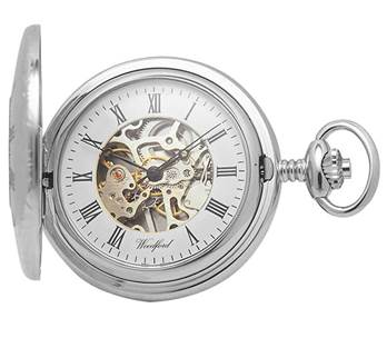 Woodford Chrome Plated Mechanical Half Hunter Pocket Watch 1020