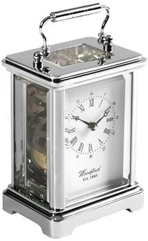 Carriage Clock - 8-day movement Chrome Plated Solid Brass 1415 - Woodford