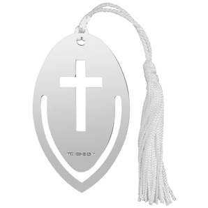 Sterling Silver Bookmark with Tassle Cross Cutout on the Tongue