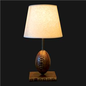 Rplica of an Antique Leather Rugby Balll on a Book - Desk / Table Lamp with Shade
