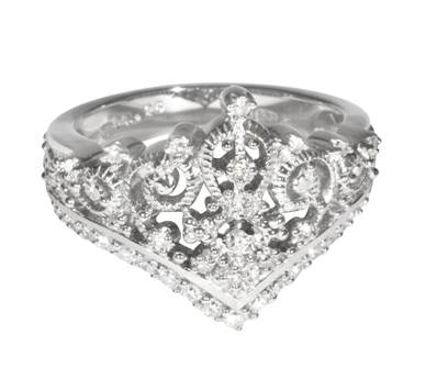 Princess Tiara Collection Ring 2 - Sterling Silver with Diamonds or Cubic Zirconium