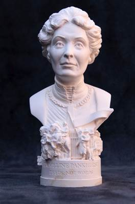 Bust of Emmeline Pankhurst -Hand crafted in Gypsum Plaster in the UK