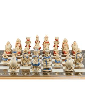 "Alice in Wonderland Hand-painted 3.5"" King Size Chess Set"