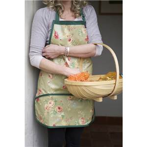 Floral Apron in Pink. Green or Blue Hand Made in PU Coated Cotton