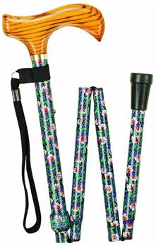 Wood Handle Folding Walking Stick with Patterned Shafts - Morris - 99M