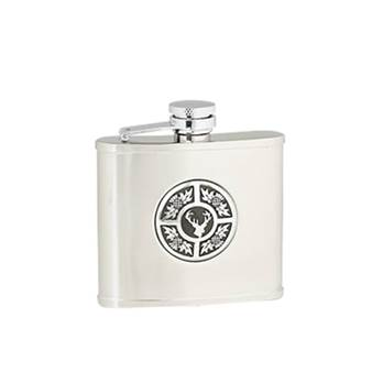 "Hip Flask - Stainless Steel with ""Captive Top"" in Thistle / Stag"