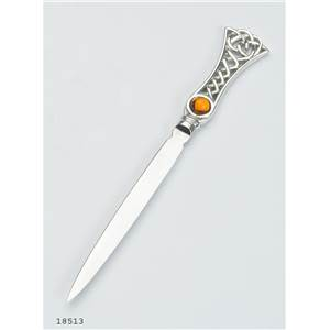 Pewter Letter Opener with Celtic Weave Handle and Topaz Inset - EBP-18513 by Edwin Blyde.