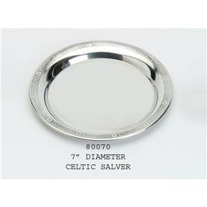 Pewter Plate 177mm Diameter with Celtic Design Rim - EBP-80070 by Edwin Blyde.