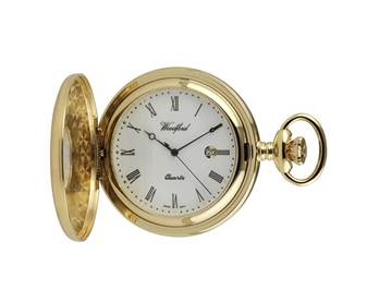 Woodford Plain Gold Plated Half Hunter Pocket Watch 1211