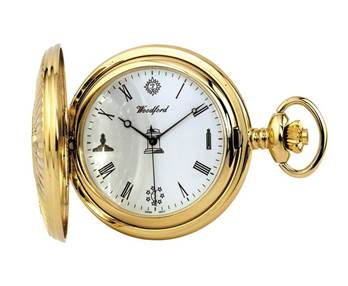 Woodford Full Hunter Gold Plated Masonic Quartz Pocket Watch 1214