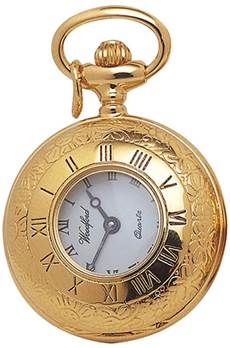 Half Hunter Gold Plate Quartz Pendant Watch on Chain 1216