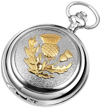 Woodford Full Hunter Chrome/Pewter Celtic Thistle Pocket Watch 1907