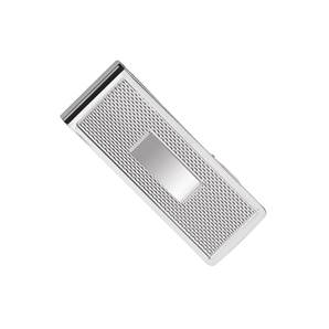 Sterling Silver Money Clip with Pattern Engraving and Engraving Plaque for Intials / Name - HBH-4095