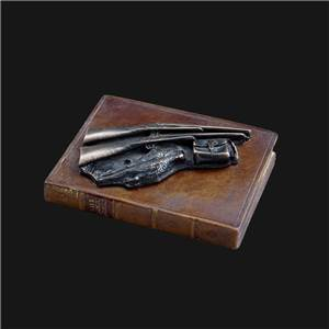 Shooting Paperweight -  Pair of Guns, Pheasant and Bag Mounted on a Faux Book