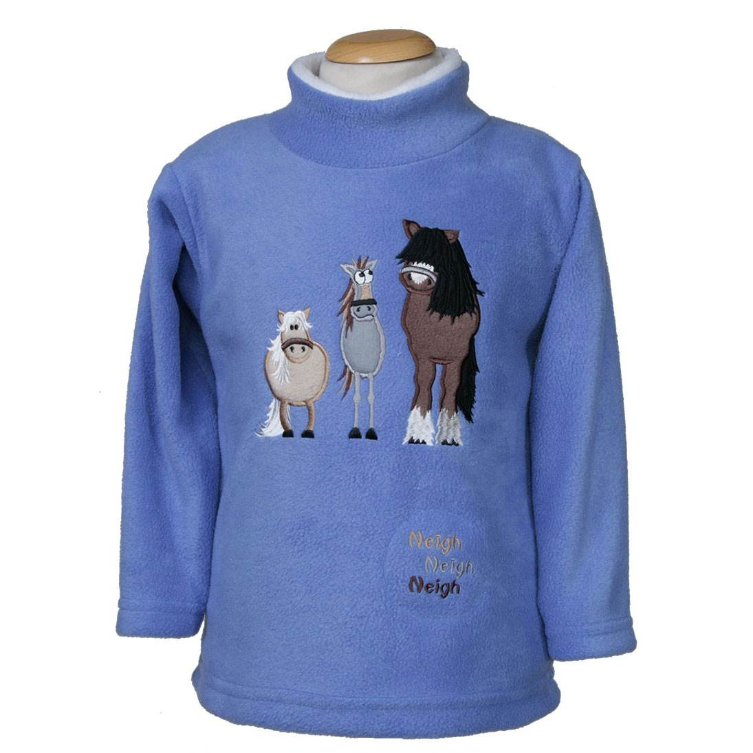 Kids embroidered 'Dozy Mares' fleece tunic with a sewn in sound effect
