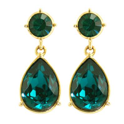 Angelina Jolie Emerald Crystal Drop Earring - Gold Finish with Swarovski Elements