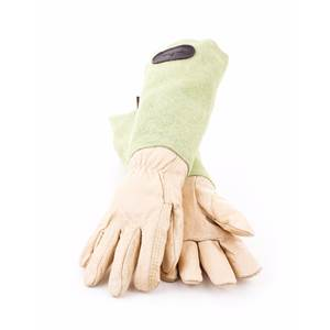 Leather Gardening Gloves with Suede Sleeves.