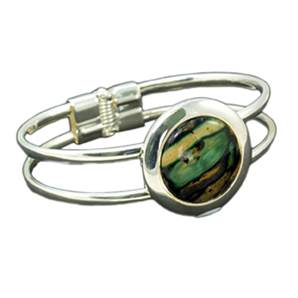 Silver Plated Spring Clip Bangle with Unique Heathergem Stone - HBA16 - from Heathergems