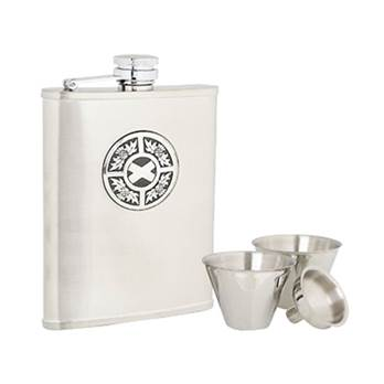 Stainless Steel 6oz Hip Flask with Thistle/Saltire Pattern in presentation box with Cups and Funnel