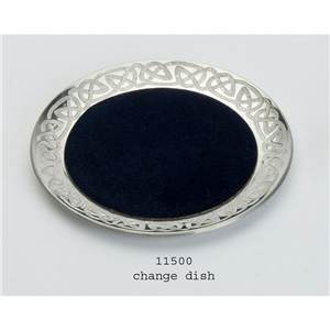 Pewter Change Dish with Blue Chandel in Celtic Design, 110mm - EBP-11500 by Edwin Blyde.