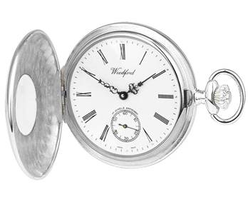 Woodford Solid Sterling Silver Engine Turned Pocket Watch