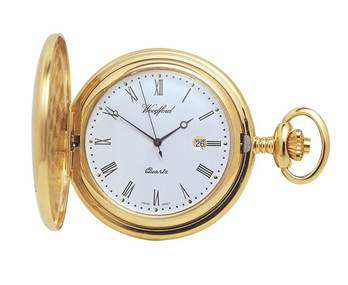 Pocket Watch with Chain Plain Chrome Plated Full Hunter Quartz Woodford 1207