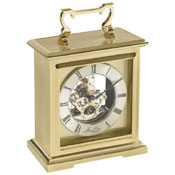 Carriage Clock Flat Top Bracket Style with Skeleton Movement and Brass Finish