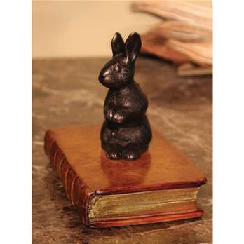 Rabbit Standing on a Faux Book Paperweight