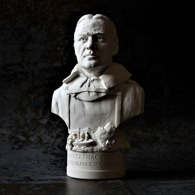 Ernest Shackleton Small Bust - Hand crafted in Gypsum Plaster in the UK