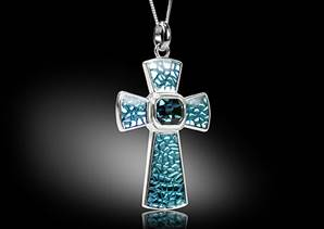 Cross- necklace blue enamel without necklace