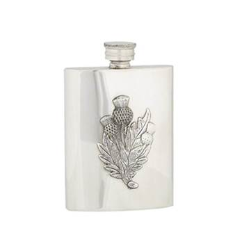 Pewter Hip Flask - 4oz Rectangular with embossed 3 x Thistles design - by Sgian Dubhs