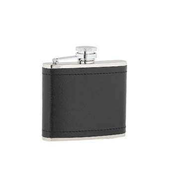 Leather Covered 4oz Hip Flask with Captive Top presentation box and Funnel in Plain Box