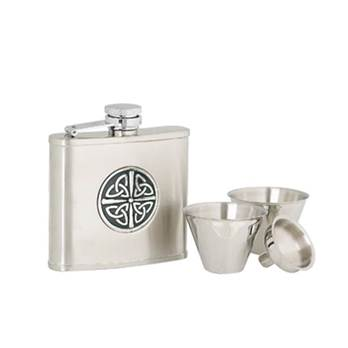 Stainless Steel 4oz Hip Flask with Celtic Pattern in presentation box with Cups and Funnel
