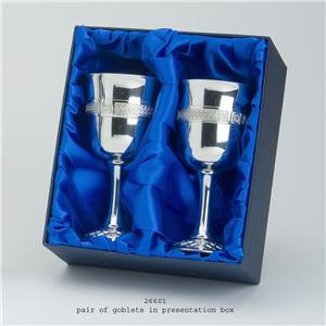 2 x Pewter Goblets in Presentation Box - EBP-26601 by Edwin Blyde.