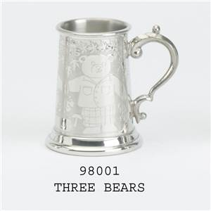 Pewter Child's Classic Can with Three Bears Design - EBP-98001 by Edwin Blyde.