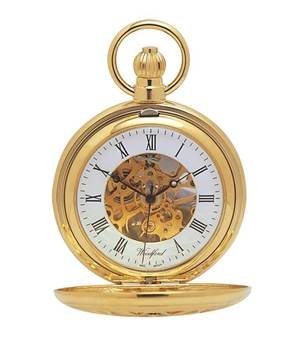 Woodford Cut Out Gold Plated Mechanical Half Hunter Pocket Watch