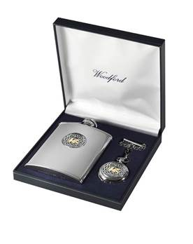 Matching Stainless Steel Hip Flask and Chrome Plated Pocket Watch Set - Welsh Dragon Design