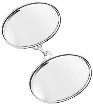 Bordered Sterling Silver Double Oval Cufflinks
