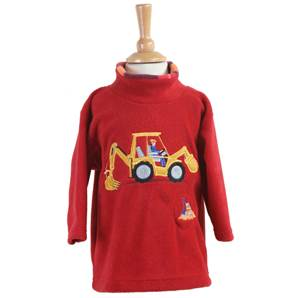 Digger Crew Neck Fleece Tunic - Red
